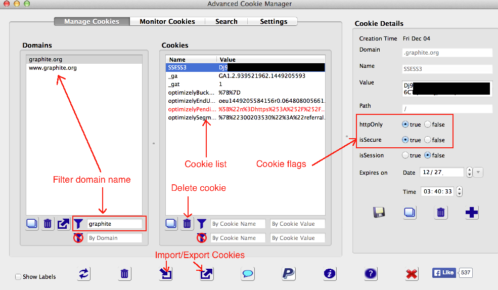 Viewing details of cookies in the Advanced Cookie Manager