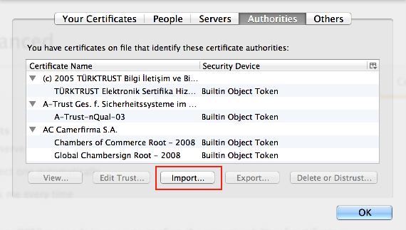 Importing a certificate in Firefox