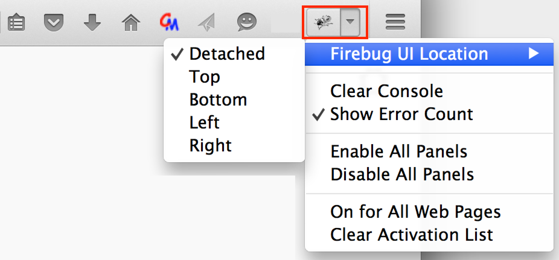 Firebug configuration options