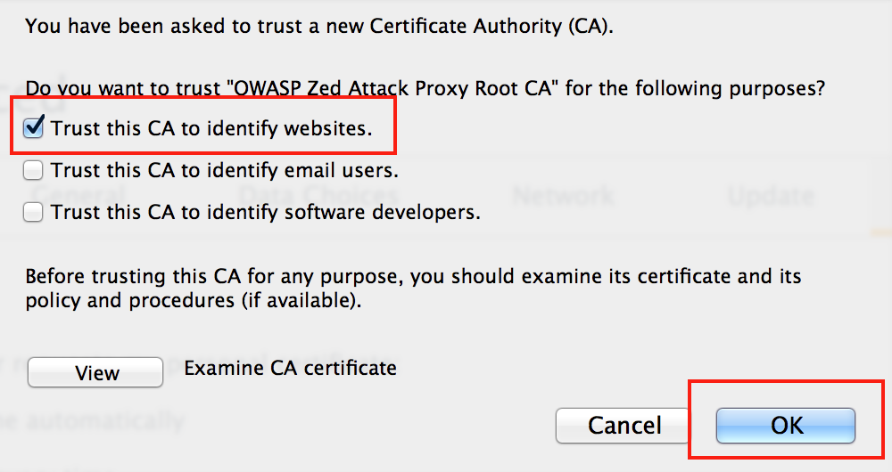 Trust the certificate generated by ZAP to identify websites