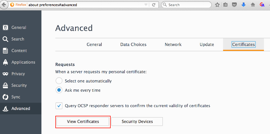 Accessing installed certificates in Firefox